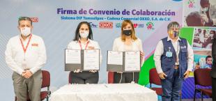 Firma Mariana Gómez convenio de colaboración con Oxxo Tamaulipas, para promover oportunidades laborales para adultos mayores y personas con discapacidad.